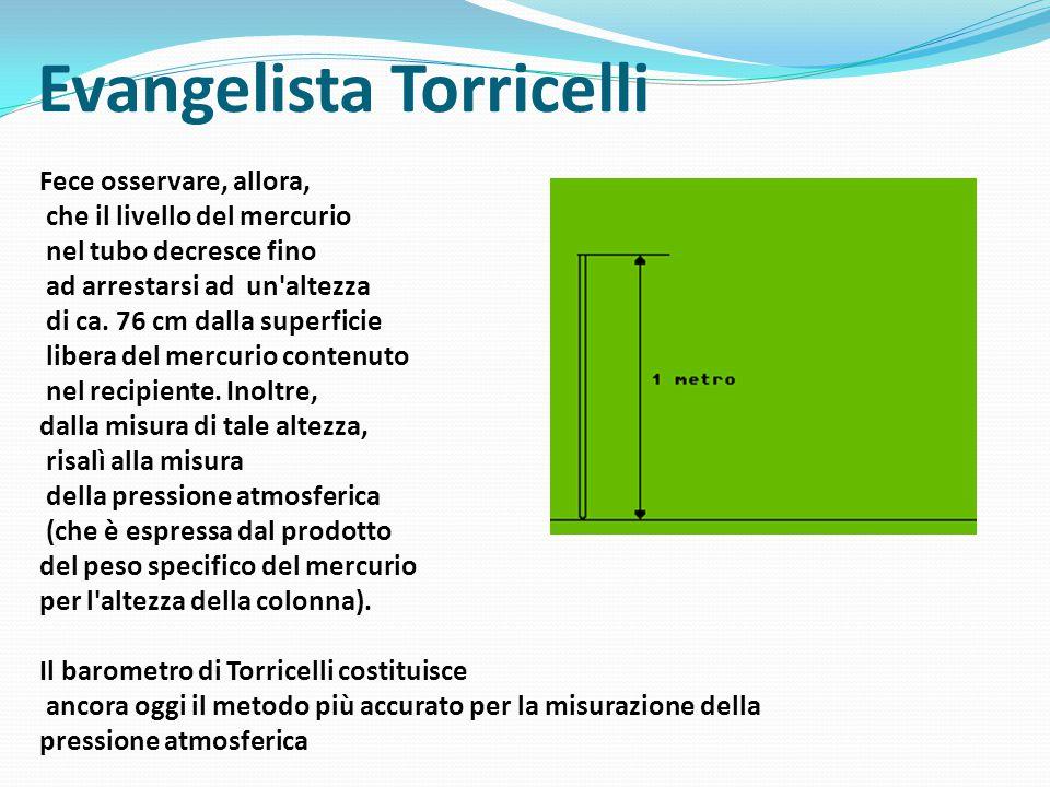 Evangelista Torricelli Fece osservare, allora, che il livello del mercurio nel tubo decresce fino ad arrestarsi ad un altezza di ca.