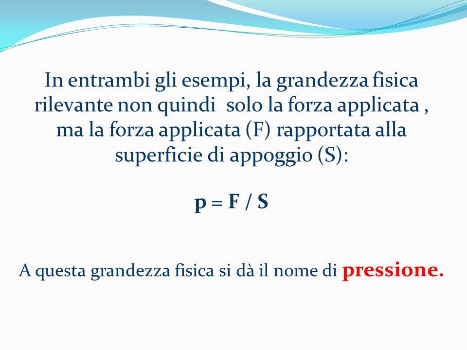 In entrambi gli esempi, la grandezza fisica rilevante non quindi solo la forza applicata, ma la forza applicata (F) rapportata alla superficie di appoggio (S): p = F / S A questa grandezza fisica si dà il nome di pressione.