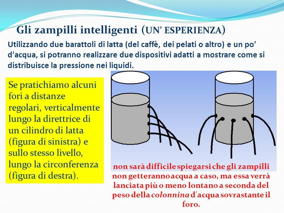 Utilizzando due barattoli di latta (del caffè, dei pelati o altro) e un po d acqua, si potranno realizzare due dispositivi adatti a mostrare come si distribuisce la pressione nei liquidi.