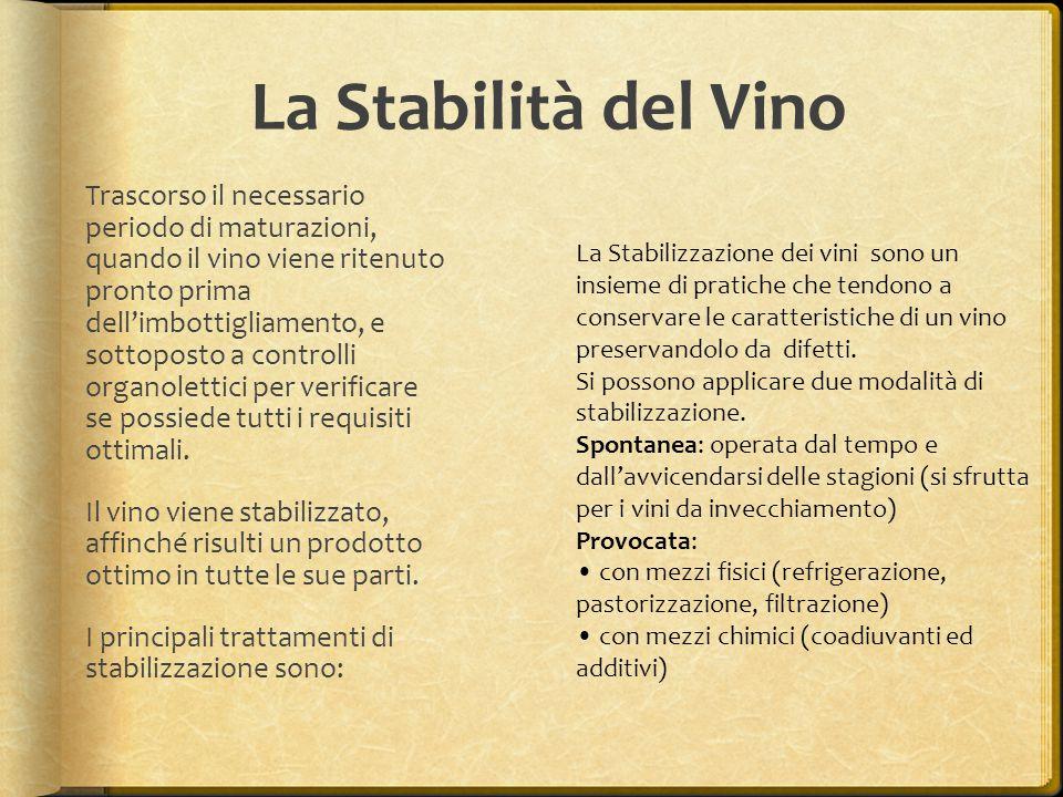 La Stabilità del Vino Trascorso il necessario periodo di maturazioni, quando il vino viene ritenuto pronto prima dell'imbottigliamento, e sottoposto a