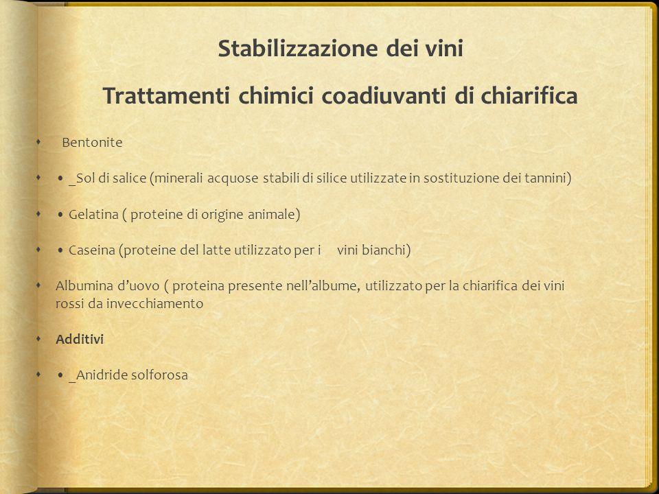 Stabilizzazione dei vini Trattamenti chimici coadiuvanti di chiarifica  Bentonite  _Sol di salice (minerali acquose stabili di silice utilizzate in