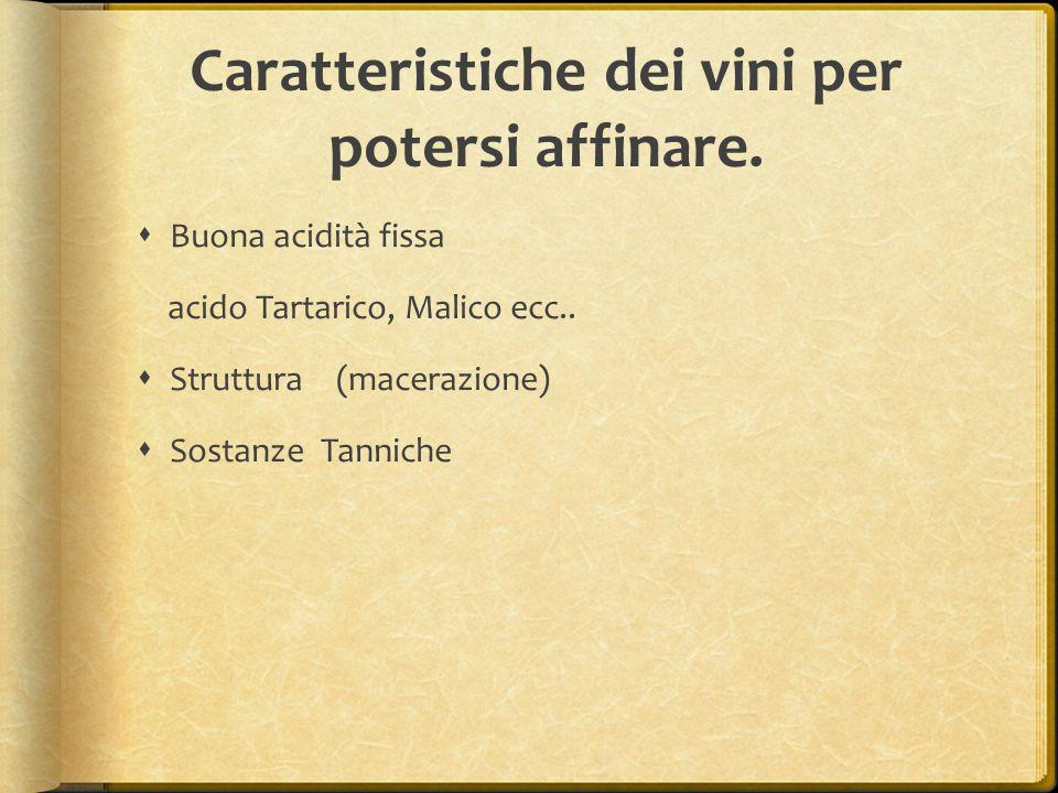 Caratteristiche dei vini per potersi affinare.  Buona acidità fissa acido Tartarico, Malico ecc..  Struttura (macerazione)  Sostanze Tanniche