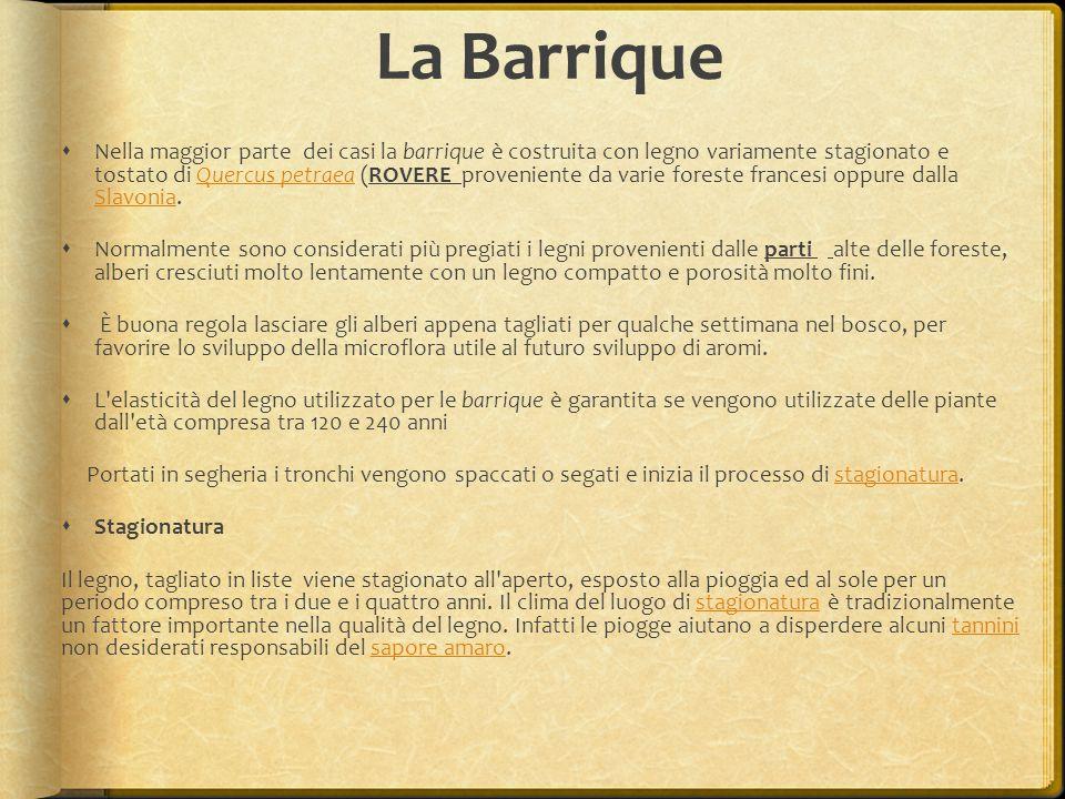 La Barrique  Nella maggior parte dei casi la barrique è costruita con legno variamente stagionato e tostato di Quercus petraea (ROVERE proveniente da