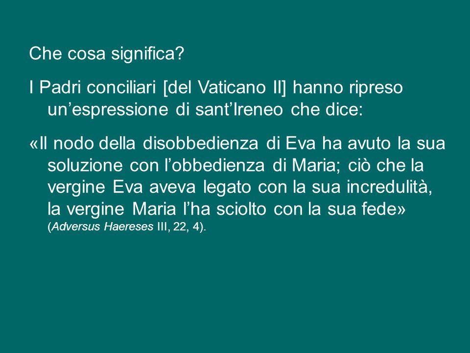1. Il primo elemento della sua fede è questo: la fede di Maria scioglie il nodo del peccato (cfr Con Ecum. Vat. II, Cost. dogm. Lumen gentium, 56).