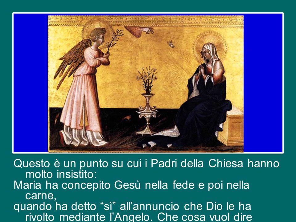 2. Secondo elemento: la fede di Maria dà carne umana a Gesù. Dice il Concilio: «Per la sua fede e la sua obbedienza Ella generò sulla terra lo stesso