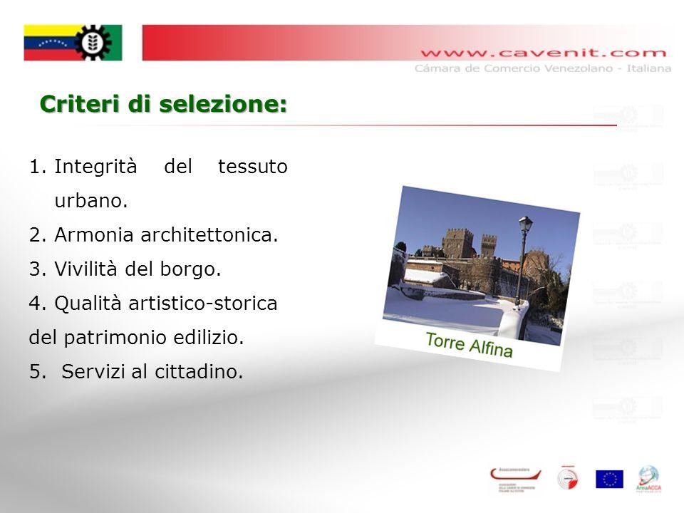Criteri di selezione: 1.Integrità del tessuto urbano.