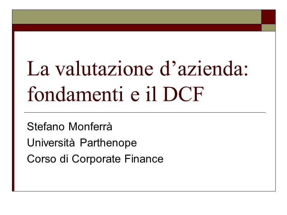 La valutazione d'azienda: fondamenti e il DCF Stefano Monferrà Università Parthenope Corso di Corporate Finance