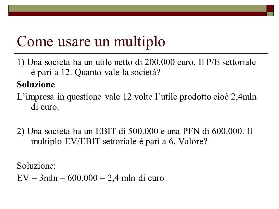 Come usare un multiplo 1) Una società ha un utile netto di 200.000 euro.
