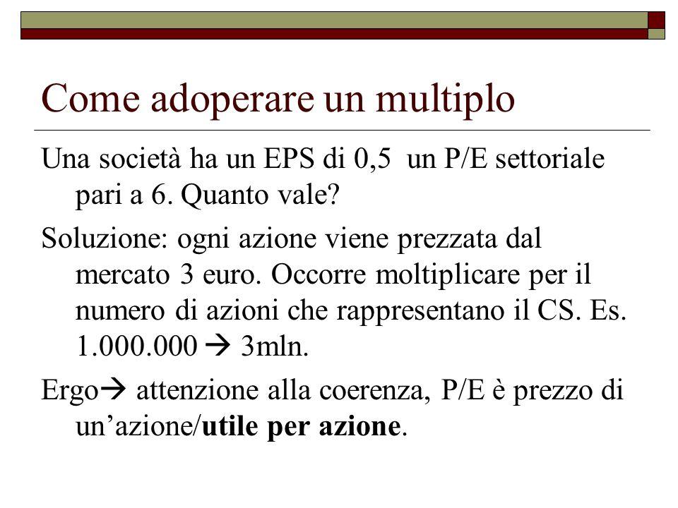 Come adoperare un multiplo Una società ha un EPS di 0,5 un P/E settoriale pari a 6.