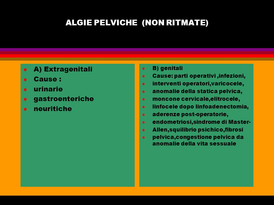 MENO E METRORRAGIE DELLE FANCIULLE PREPUBERI ED ADOLESCENTI l A) Cause extra genitali l disfunzione ipotalamo ipofisaria l disturbi psicogeni l ipotiroidismo l trombocitopenia l alimentazione inadeguata l B) Cause organiche genit.