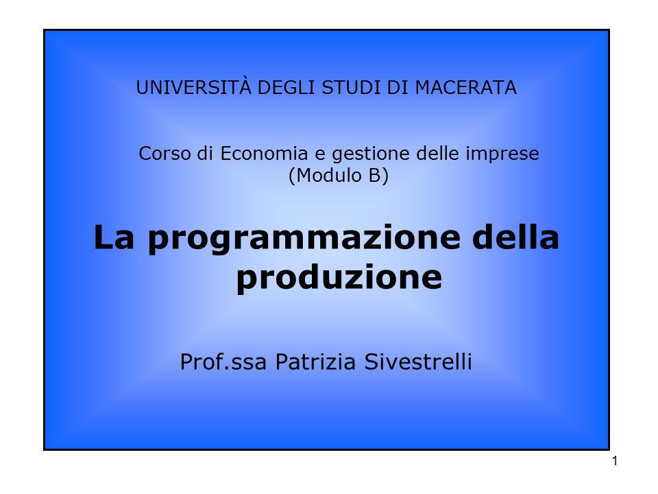 1 UNIVERSITÀ DEGLI STUDI DI MACERATA Corso di Economia e gestione delle imprese (Modulo B) La programmazione della produzione Prof.ssa Patrizia Sivest