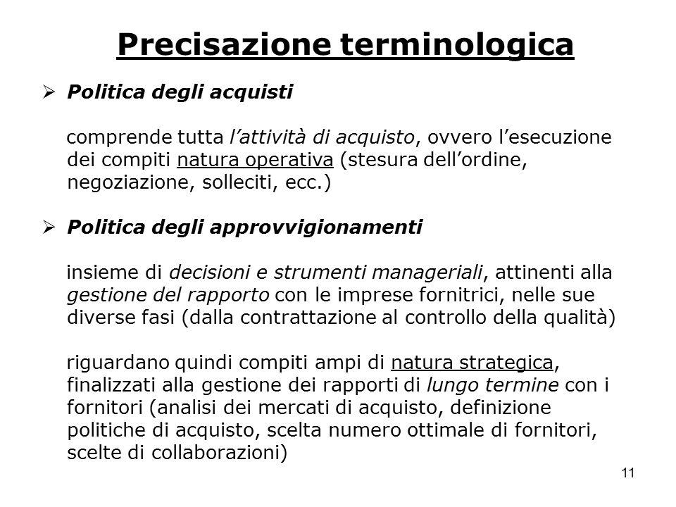 11 Precisazione terminologica  Politica degli acquisti comprende tutta l'attività di acquisto, ovvero l'esecuzione dei compiti natura operativa (stes