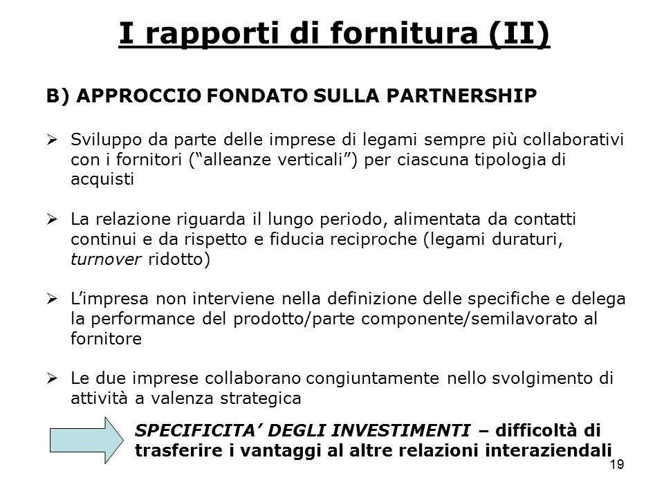 19 I rapporti di fornitura (II) B) APPROCCIO FONDATO SULLA PARTNERSHIP  Sviluppo da parte delle imprese di legami sempre più collaborativi con i forn