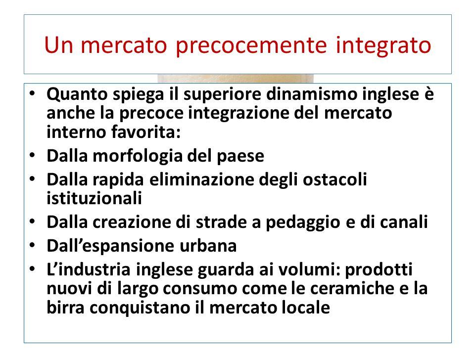 Un mercato precocemente integrato Quanto spiega il superiore dinamismo inglese è anche la precoce integrazione del mercato interno favorita: Dalla mor