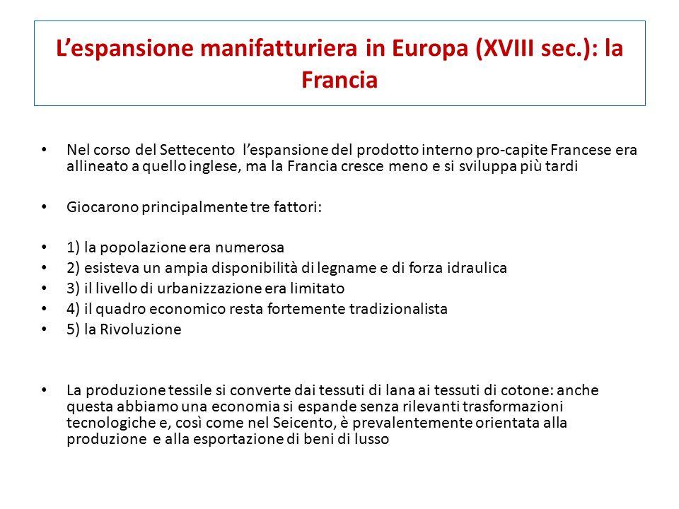 L'espansione manifatturiera in Europa (XVIII sec.): la Francia Nel corso del Settecento l'espansione del prodotto interno pro-capite Francese era alli