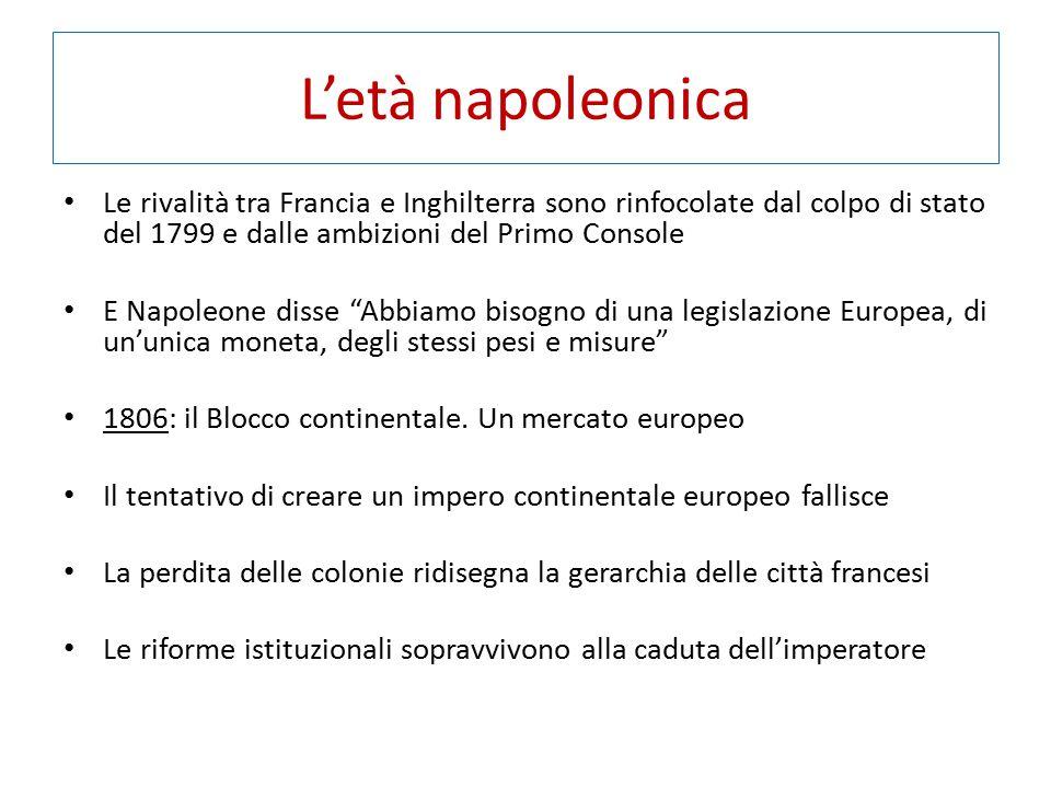 L'età napoleonica Le rivalità tra Francia e Inghilterra sono rinfocolate dal colpo di stato del 1799 e dalle ambizioni del Primo Console E Napoleone d