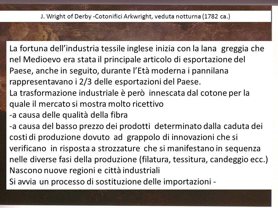 J. Wright of Derby -Cotonifici Arkwright, veduta notturna (1782 ca.) La fortuna dell'industria tessile inglese inizia con la lana greggia che nel Medi