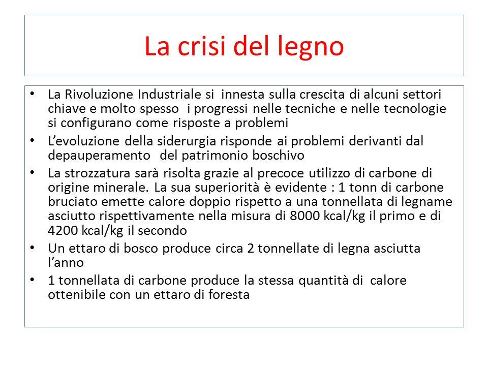 La crisi del legno La Rivoluzione Industriale si innesta sulla crescita di alcuni settori chiave e molto spesso i progressi nelle tecniche e nelle tec