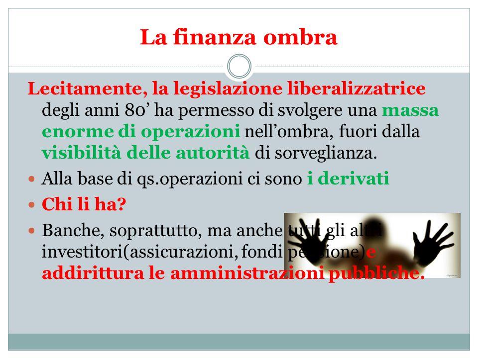 La finanza ombra Lecitamente, la legislazione liberalizzatrice degli anni 80' ha permesso di svolgere una massa enorme di operazioni nell'ombra, fuori dalla visibilità delle autorità di sorveglianza.
