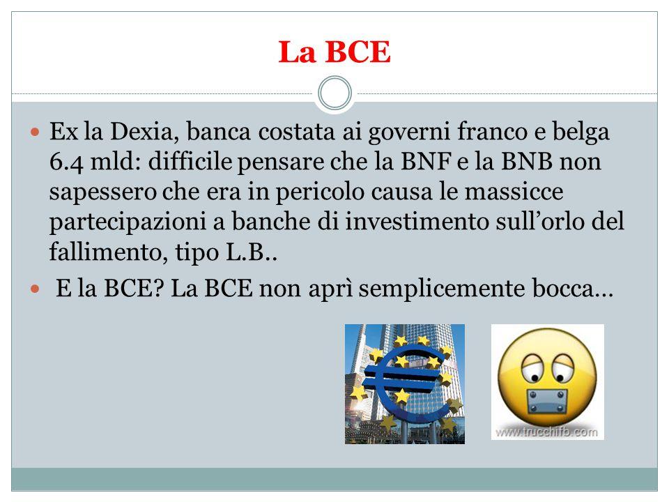 La BCE Ex la Dexia, banca costata ai governi franco e belga 6.4 mld: difficile pensare che la BNF e la BNB non sapessero che era in pericolo causa le massicce partecipazioni a banche di investimento sull'orlo del fallimento, tipo L.B..