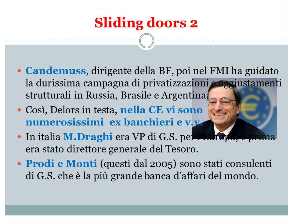 Sliding doors 2 Candemuss, dirigente della BF, poi nel FMI ha guidato la durissima campagna di privatizzazioni e aggiustamenti strutturali in Russia, Brasile e Argentina.