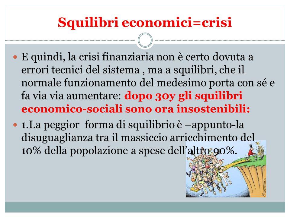 Squilibri economici=crisi E quindi, la crisi finanziaria non è certo dovuta a errori tecnici del sistema, ma a squilibri, che il normale funzionamento del medesimo porta con sé e fa via via aumentare: dopo 30y gli squilibri economico-sociali sono ora insostenibili: 1.La peggior forma di squilibrio è –appunto-la disuguaglianza tra il massiccio arricchimento del 10% della popolazione a spese dell'altro 90%.