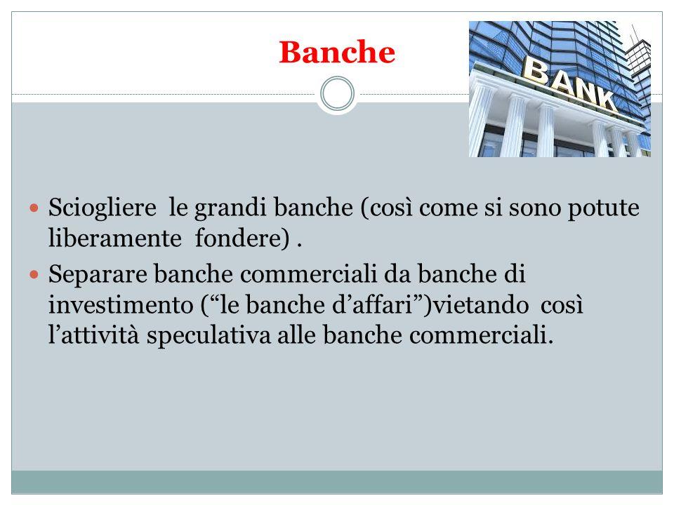 Banche Sciogliere le grandi banche (così come si sono potute liberamente fondere).
