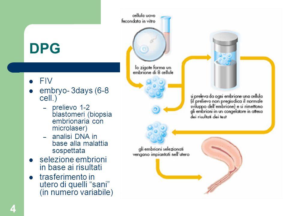 4 DPG FIV embryo- 3days (6-8 cell.) – prelievo 1-2 blastomeri (biopsia embrionaria con microlaser) – analisi DNA in base alla malattia sospettata sele