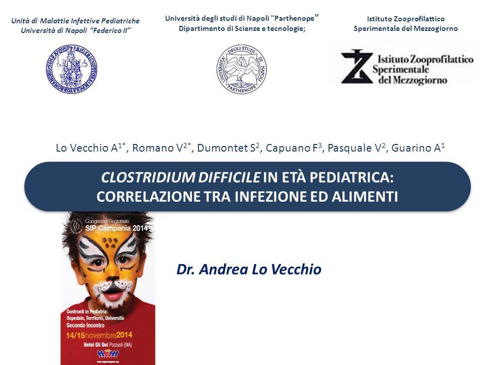 CLOSTRIDIUM DIFFICILE IN ETÀ PEDIATRICA: CORRELAZIONE TRA INFEZIONE ED ALIMENTI CLOSTRIDIUM DIFFICILE IN ETÀ PEDIATRICA: CORRELAZIONE TRA INFEZIONE ED