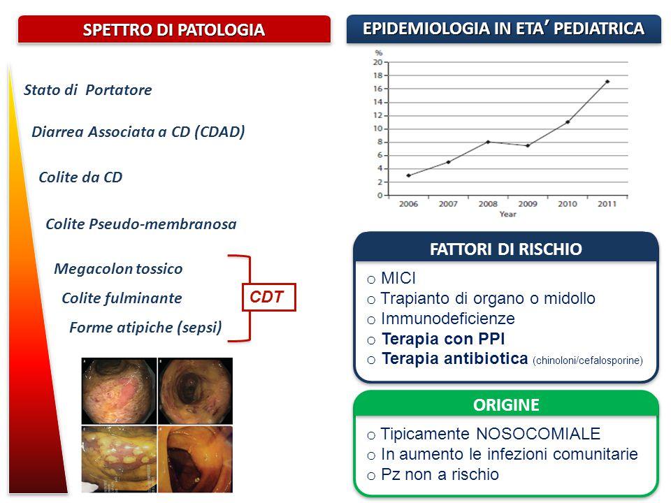 Stato di Portatore Diarrea Associata a CD (CDAD) Colite da CD Colite Pseudo-membranosa Megacolon tossico Colite fulminante Forme atipiche (sepsi) SPET