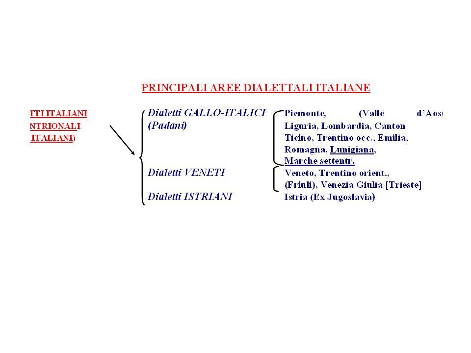 SETTENTRIONALI CENTRO- MERIDIONALI ESTREMI GALLO-ITALICI Piemonte, (V. d'Aosta), Liguria Lombardia, Canton Ticino, Trentino occ., Emilia, Romagna, Lun