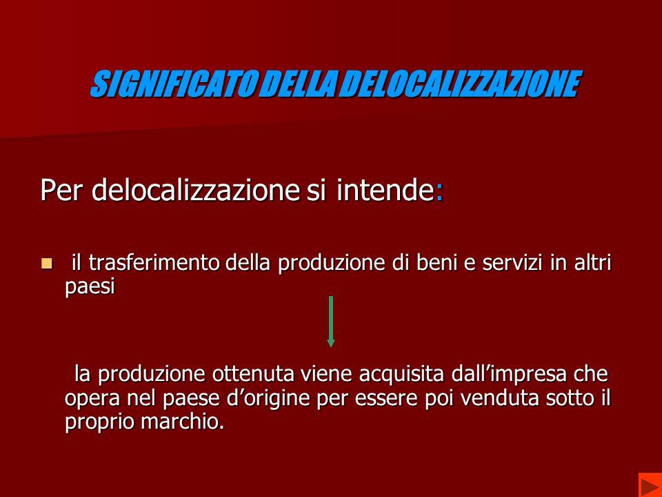 LA REALTA' ITALIANA SPECIALIZZAZIONI IN PRODOTTI AD ALTA TECNOLOGIA SPECIALIZZAZIONI IN PRODOTTI AD ALTA TECNOLOGIA SPOSTAMENTO PRODUZIONI SPOSTAMENTO