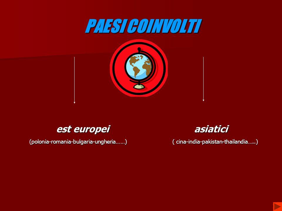 PAESI COINVOLTI est europei asiatici est europei asiatici (polonia-romania-bulgaria-ungheria……) ( cina-india-pakistan-thailandia…..) (polonia-romania-bulgaria-ungheria……) ( cina-india-pakistan-thailandia…..)
