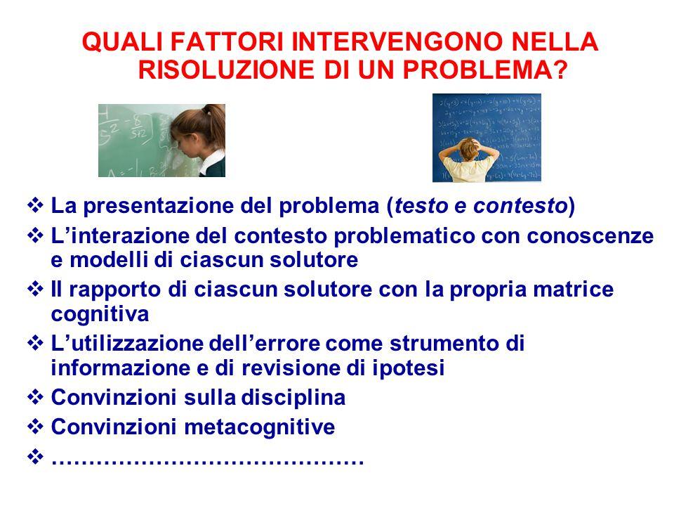 QUALI FATTORI INTERVENGONO NELLA RISOLUZIONE DI UN PROBLEMA?  La presentazione del problema (testo e contesto)  L'interazione del contesto problemat