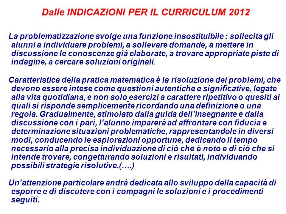 Dalle INDICAZIONI PER IL CURRICULUM 2012 La problematizzazione svolge una funzione insostituibile : sollecita gli alunni a individuare problemi, a sol