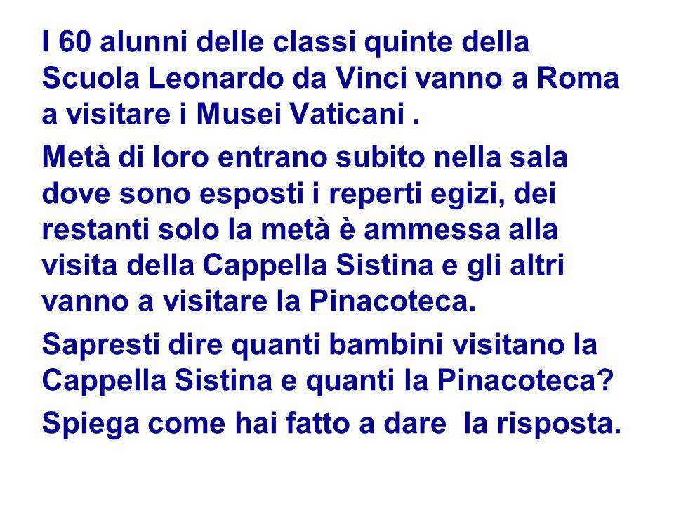 I 60 alunni delle classi quinte della Scuola Leonardo da Vinci vanno a Roma a visitare i Musei Vaticani. Metà di loro entrano subito nella sala dove s