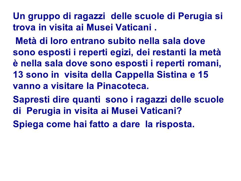 Un gruppo di ragazzi delle scuole di Perugia si trova in visita ai Musei Vaticani. Metà di loro entrano subito nella sala dove sono esposti i reperti