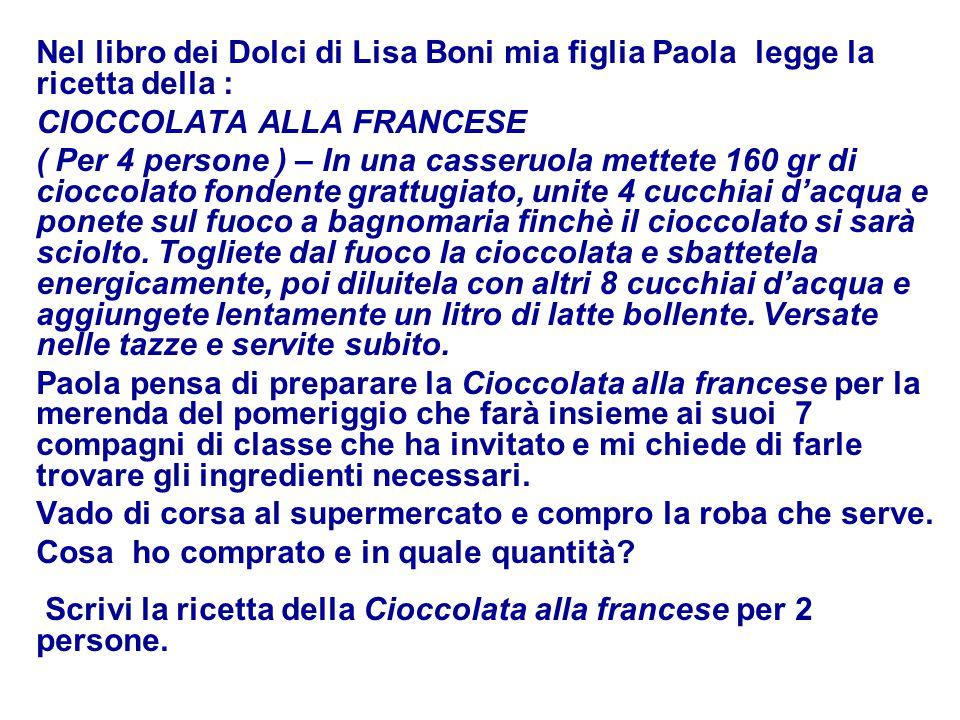 Nel libro dei Dolci di Lisa Boni mia figlia Paola legge la ricetta della : CIOCCOLATA ALLA FRANCESE ( Per 4 persone ) – In una casseruola mettete 160