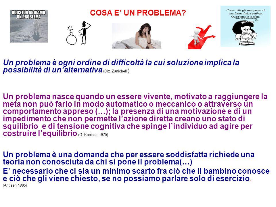 COSA E' UN PROBLEMA? Un problema è ogni ordine di difficoltà la cui soluzione implica la possibilità di un'alternativa (Diz. Zanichelli ) Un problema