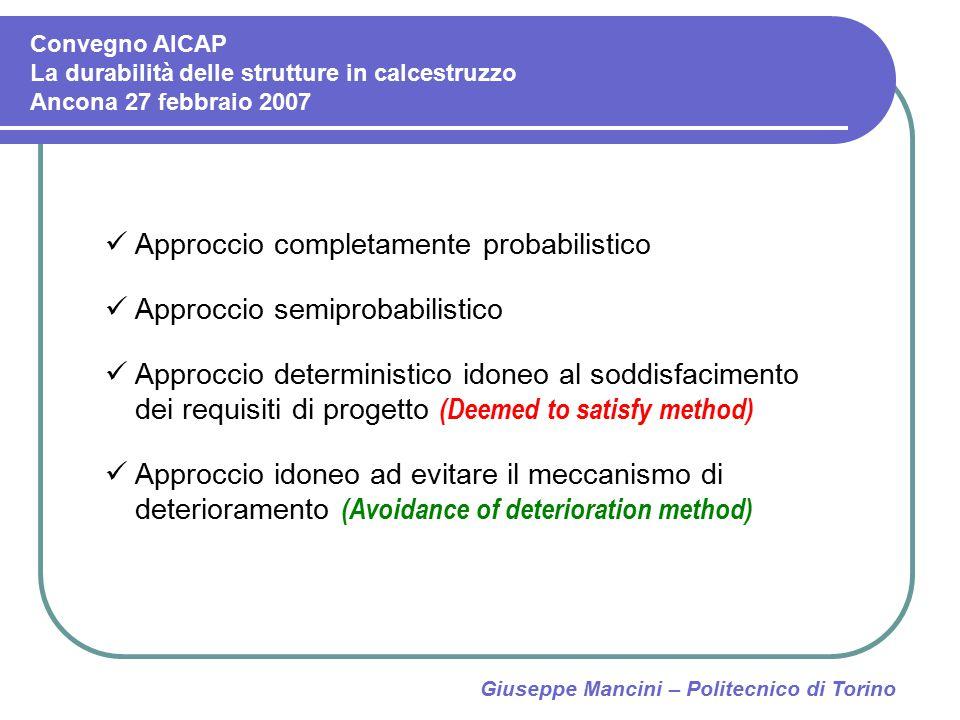 Giuseppe Mancini – Politecnico di Torino Approccio completamente probabilistico Approccio semiprobabilistico Approccio deterministico idoneo al soddis