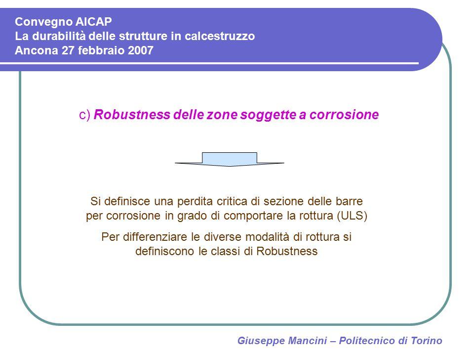 Giuseppe Mancini – Politecnico di Torino c) Robustness delle zone soggette a corrosione Si definisce una perdita critica di sezione delle barre per co