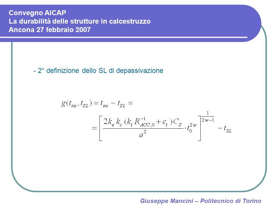 Giuseppe Mancini – Politecnico di Torino - 2° definizione dello SL di depassivazione Convegno AICAP La durabilità delle strutture in calcestruzzo Anco