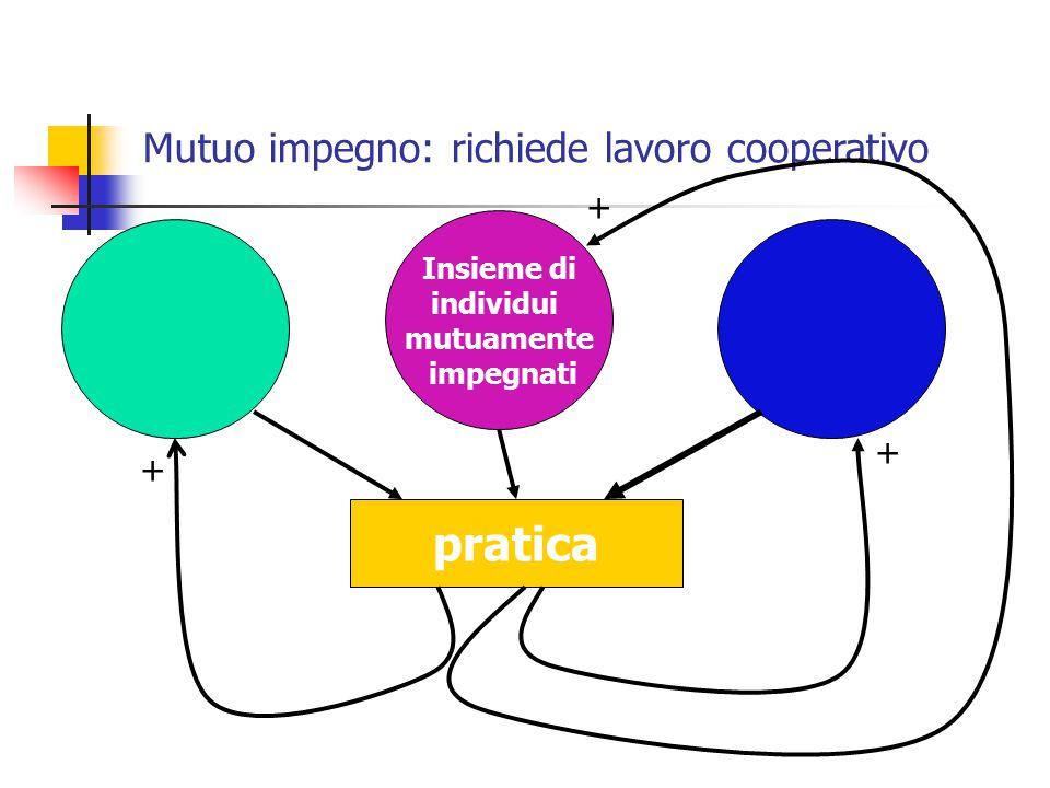Mutuo impegno: richiede lavoro cooperativo Insieme di individui mutuamente impegnati pratica + + +