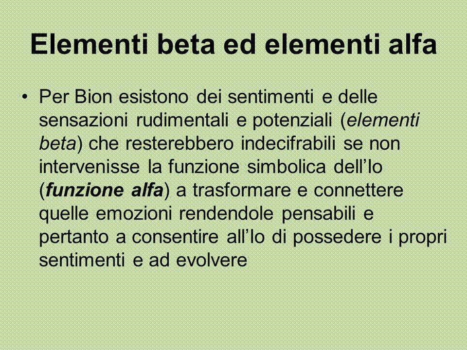 Elementi beta ed elementi alfa Per Bion esistono dei sentimenti e delle sensazioni rudimentali e potenziali (elementi beta) che resterebbero indecifra