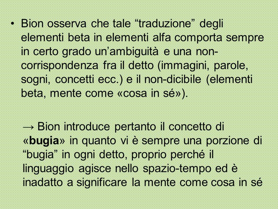 """Bion osserva che tale """"traduzione"""" degli elementi beta in elementi alfa comporta sempre in certo grado un'ambiguità e una non- corrispondenza fra il d"""