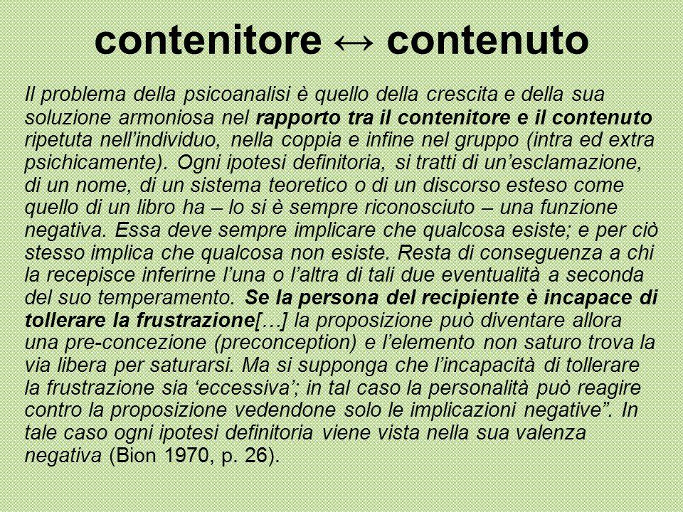 contenitore ↔ contenuto Il problema della psicoanalisi è quello della crescita e della sua soluzione armoniosa nel rapporto tra il contenitore e il co