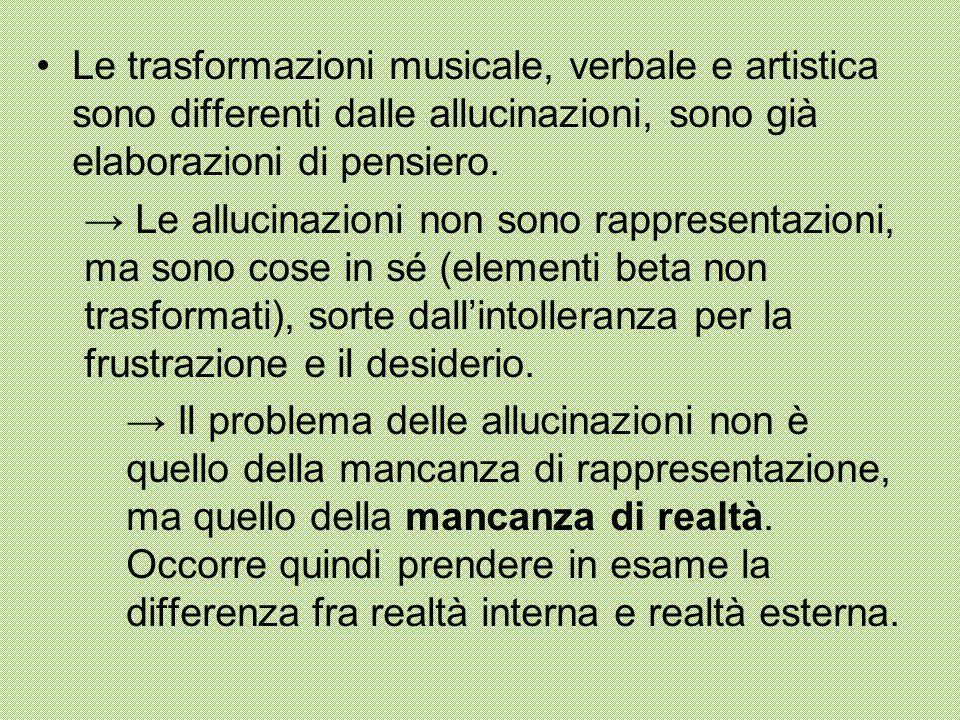 Le trasformazioni musicale, verbale e artistica sono differenti dalle allucinazioni, sono già elaborazioni di pensiero. → Le allucinazioni non sono ra