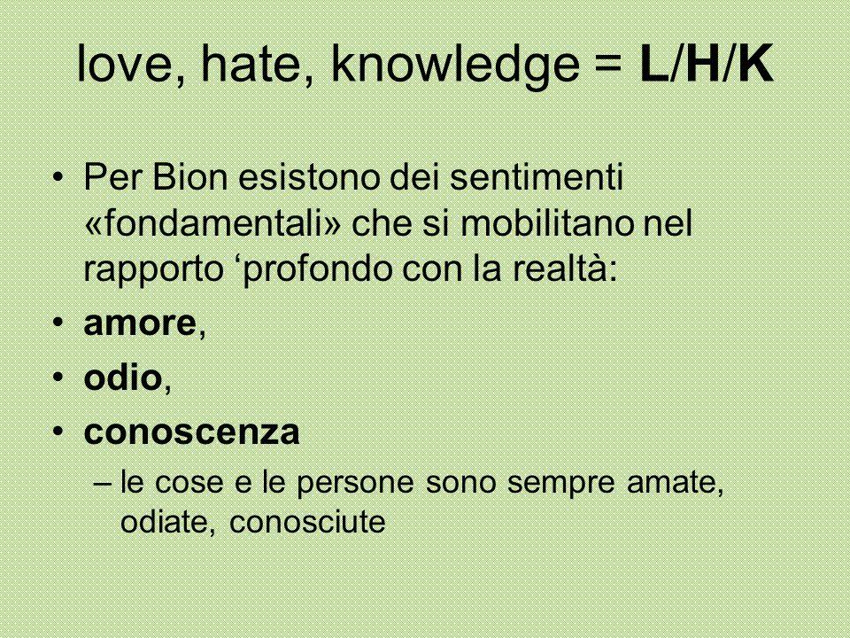 love, hate, knowledge = L/H/K Per Bion esistono dei sentimenti «fondamentali» che si mobilitano nel rapporto 'profondo con la realtà: amore, odio, con