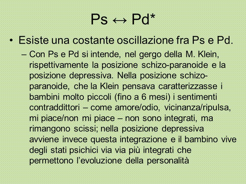Ps ↔ Pd* Esiste una costante oscillazione fra Ps e Pd. –Con Ps e Pd si intende, nel gergo della M. Klein, rispettivamente la posizione schizo-paranoid