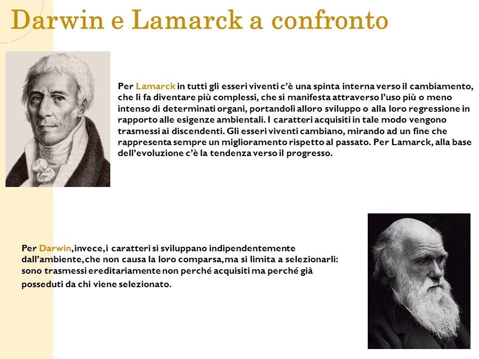 Darwin e Lamarck a confronto Per Lamarck in tutti gli esseri viventi c'è una spinta interna verso il cambiamento, che li fa diventare più complessi, c